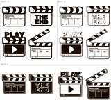 Movie black and white clapper boards set