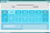 Weather blue forecast with icons interface