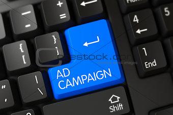 Blue Ad Campaign Key on Keyboard.
