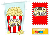 Cinema vector icons set stereo glasses popcorn