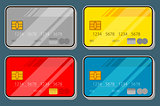 Illustration set of color bank credit card design