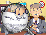 Document Management Solutions through Magnifier. Doodle Concept.