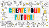 Create Your Future Concept with Doodle Design Icons.