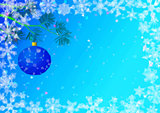 Christmas Background with Fir and Balls