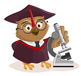 Owl teacher and microscope
