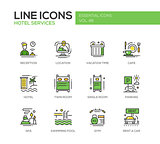 Hotel Services - flat design line icons set