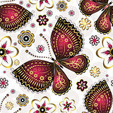 Seamless pattern with purple butterflies