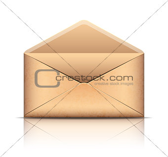 Old envelope, isolated on white.