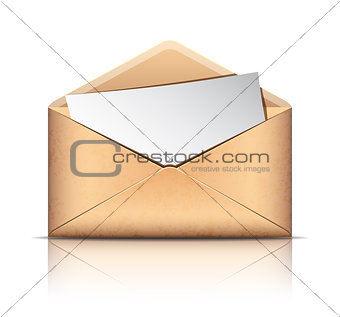 Old envelope with blank paper