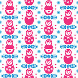 Russian doll Matryoshka folk art floral seamless pattern