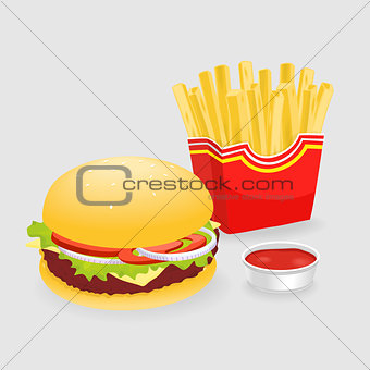 French Fries And Hamburger