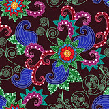 Floral seamless pattern over claret background