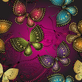 Seamless spring dark purple pattern