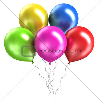 three rendering shiny balloons on white background