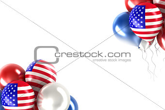 3d rendering balls with symbols of the U.S.