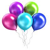 three rendering shiny balloons on white background