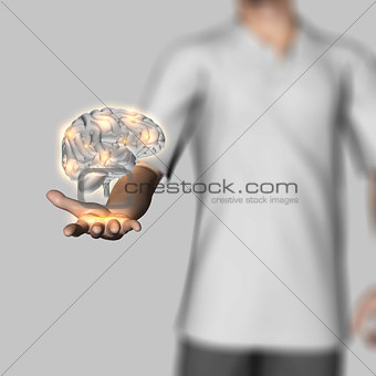 3D male figure holding human brain