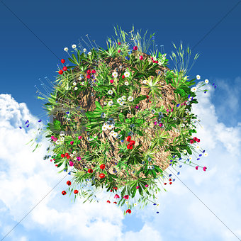 3D globe with wild flowers