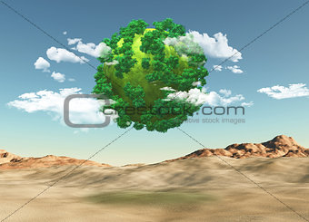 3D grassy globe with trees over a barren landscape