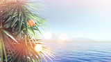 3D palm tree landscape with retro effect