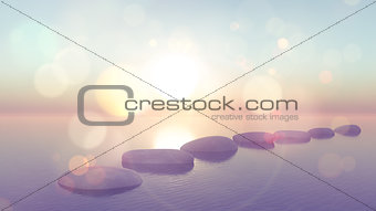 3D stepping stones in ocean with vintage effect