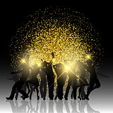 Party people on glitter background
