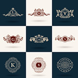 Vintage flourishes elements. Calligraphic ornaments set