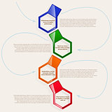 four color hexagonal frames for text or infographics.