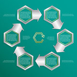 Six hexagonal frames for text or infographics. Description of the process.