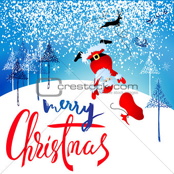 Santa Claus fall from sleigh with harness on the reindeer. Vector illustration. Chtistmas lettering. EPS10