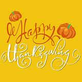 Happy Thanksgiving handwritten lettering text. Handmade vector calligraphy on orange background. EPS10
