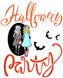 Pretty girl with an ax reflected in a mirror. Halloween party. Beautiful girl with her hands in the blood. Vector lettering.