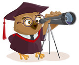 Teacher owl looks through telescope