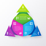 Vector elements for infographics. Template of a pie chart with triangle arrows.