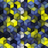 Vector Seamless Gradient Cube Shape Rhombus Grid Geometric Pattern