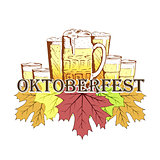 Oktoberfest emblem in hand drawn sketch style