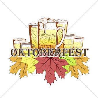 Oktoberfest emblem in hand drawn sketch style