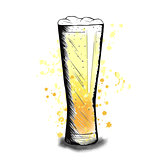 Vector colorful sketch of beer cup