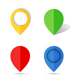 Flat paper map pin.