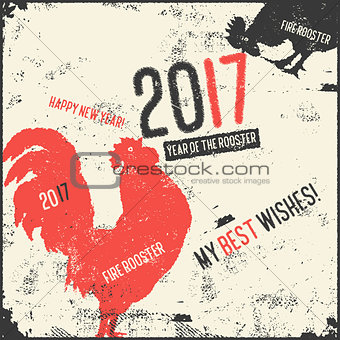 Calligraphy greeting card red fire rooster.