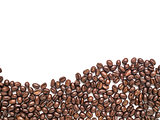 Isolated coffee beans arrange at the bottom in curve line shape