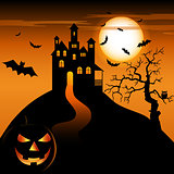 Halloween night with haunted castle and grinning pumpkin