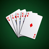 Poker cards flush diamonds hand