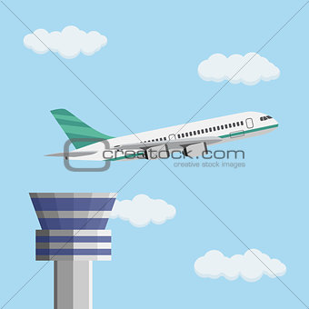 Airport control tower and flying civil airplane.