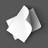 Paper sheets mockup on transparent background. Vector Illustration.