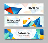 Set of vector horizontal polygonal banners