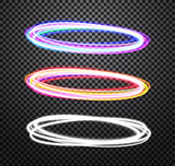 Round neon light trail vector special effects set