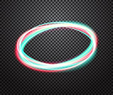 Round neon light trail vector special effect