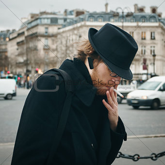 Bearded Man Wearing Hat Smoking