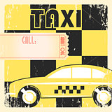Taxi cab retro poster.